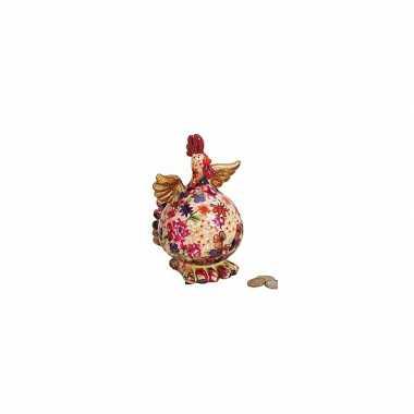 Beige kip spaarpot met bloemen