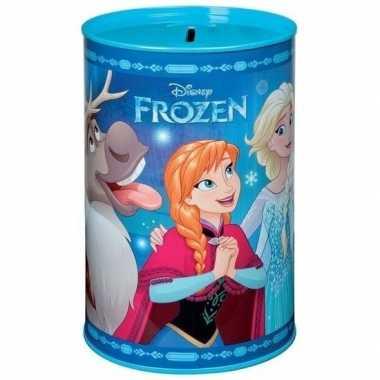 Blauwe dsiney frozen spaarpot blik 15 cm voor meisjes
