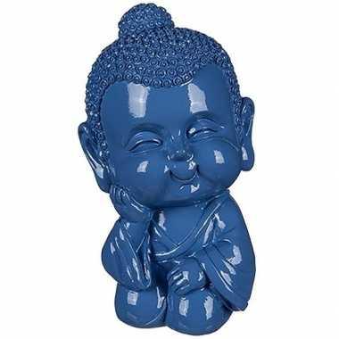 Boeddha spaarpot blauw 13 cm