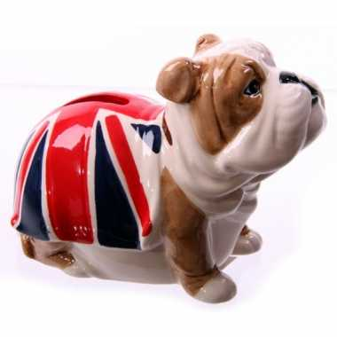 Bulldog spaarpot met britse vlag