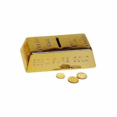 Decoratie goudstaaf spaarpot