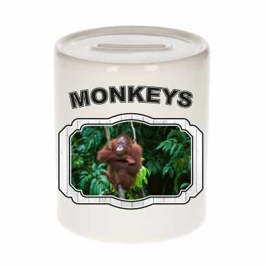 Dieren orangoetan spaarpot - monkeys/ apen spaarpotten kinderen 9 cm