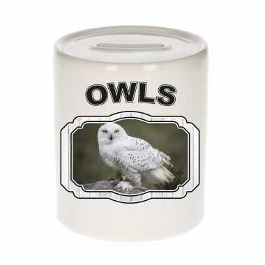 Dieren sneeuwuil spaarpot owls uilen spaarpotten kinderen 9 cm