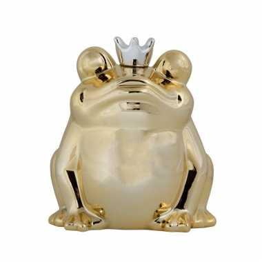Dieren spaarpot gouden kikker met kroon 15 cm