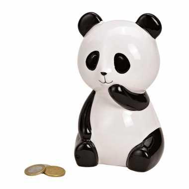 Dieren spaarpot zwarte/witte panda 15 cm
