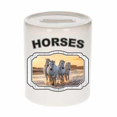 Dieren wit paard spaarpot horses paarden spaarpotten kinderen 9 cm