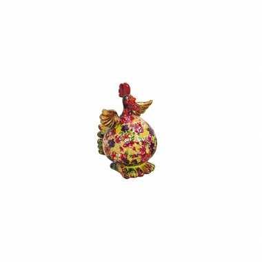 Geel/groene kip spaarpot met bloemen