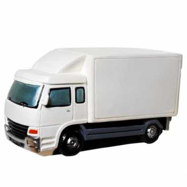 Geld spaarpot witte vrachtwagen