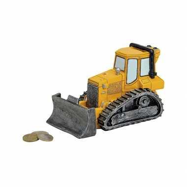 Gele bulldozers spaarpotten 17 cm