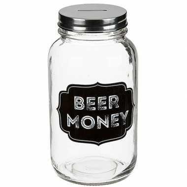 Glazen spaarpot beer money