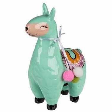Groene alpaca / lama spaarpot 22 cm