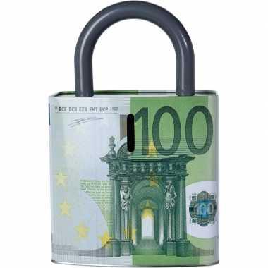 Groene spaarpot 100 euro biljet 25 cm