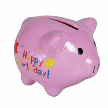 Happy birthday spaarvarken 4 cm
