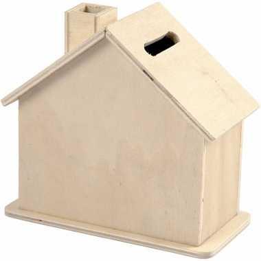 Houten huis spaarpotten