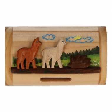 Houten spaarpot alpaca lama 10 cm