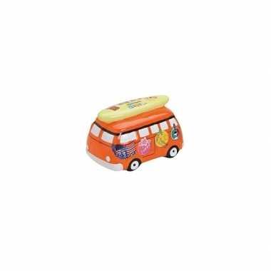 Kado spaarpot vakantie bus16 cm oranje