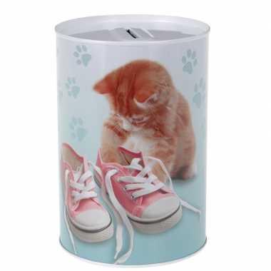 Katten/poezen met schoenen spaarpot 15 cm
