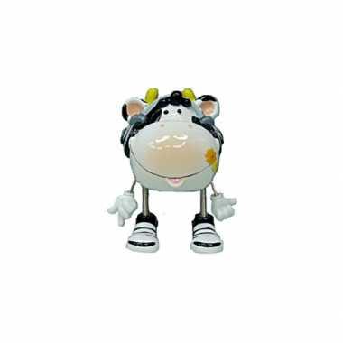 Koe met hoofdtelefoon spaarpot 16 cm