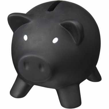 Mini spaarvarken/spaarpot zwart 9 cm