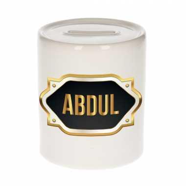 Naam cadeau spaarpot abdul met gouden embleem