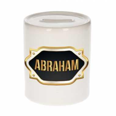 Naam cadeau spaarpot abraham met gouden embleem