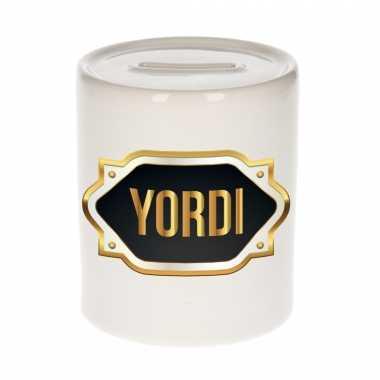 Naam cadeau spaarpot yordi met gouden embleem