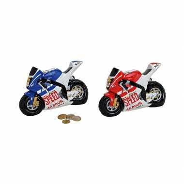 Race motor spaarpot blauw