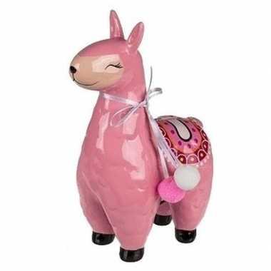 Roze alpaca / lama spaarpot 22 cm