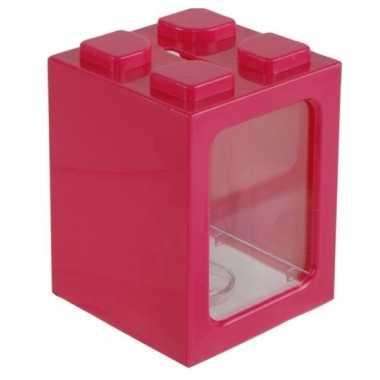 Roze bouwsteentjes spaarpot 11 cm