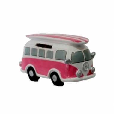 Roze hippie spaarpot volkswagen busje met surfboard