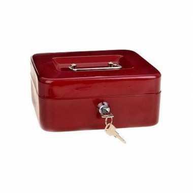 Set van 2x stuks geldkistjes/kluisjes rood met inleglade 20 cm