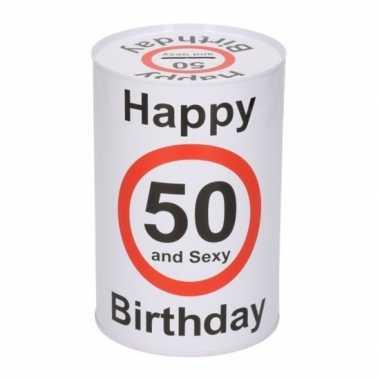 Spaarblik 50e verjaardag 15 cm