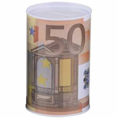 Spaarpot 50 euro biljet 8 x 11 cm