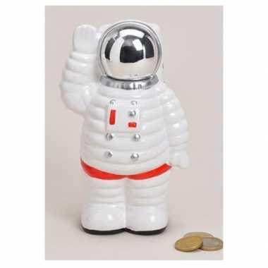 Spaarpot astronaut wit van keramiek 18 cm