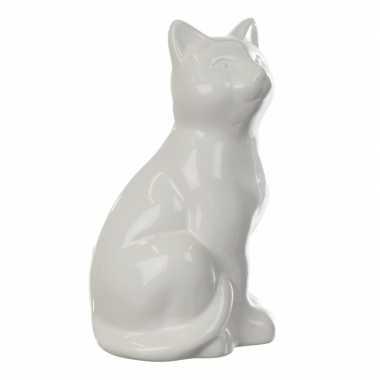 Spaarpot beeldje witte poes 20 cm