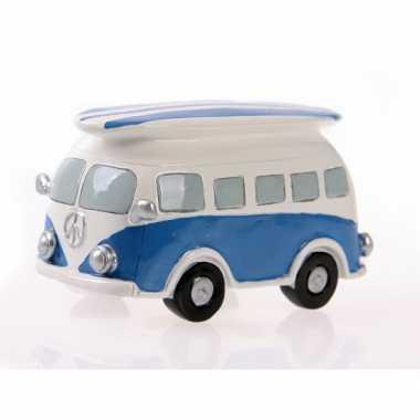 Spaarpot blauwe volkswagen bus