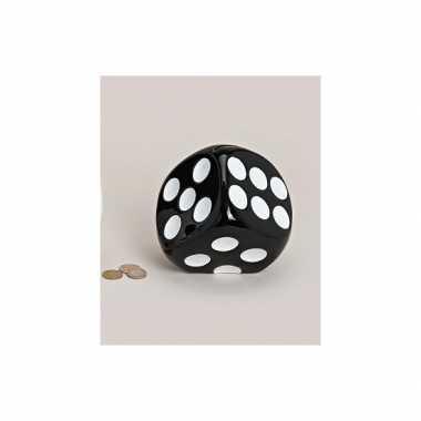 Spaarpot dobbelsteen zwart