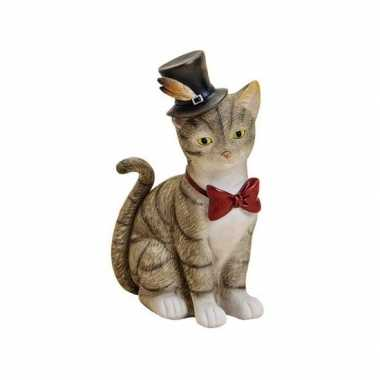 Spaarpot grijze kat/poes met hoed en strikje 22 cm