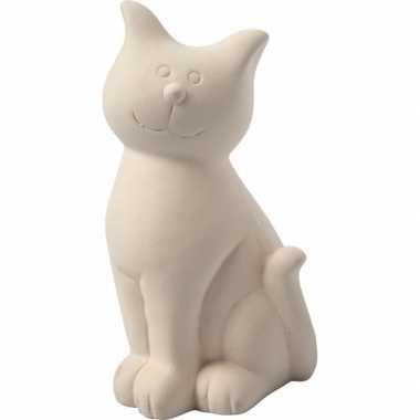 Spaarpot kat wit terracotta