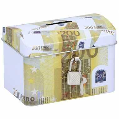 Spaarpot kistje 200 euro biljet 11 x 8 cm
