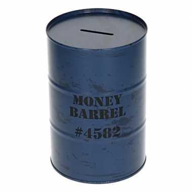 Spaarpot money barrel blauw 15 cm