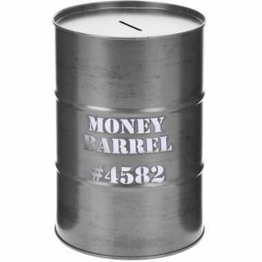 Spaarpot money barrel grijs