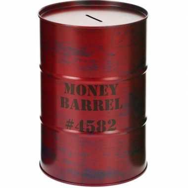 Spaarpot money barrel rood 15 cm