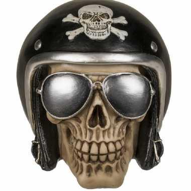 Spaarpot moter bikers skull 16 x 13 cm