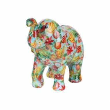 Spaarpot olifant blauw met fruit print 20 cm