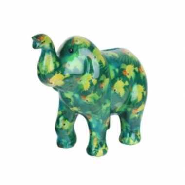 Spaarpot olifant groen met vogel print 20 cm