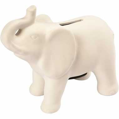 Spaarpot olifant wit terracotta