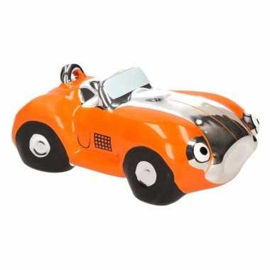 Spaarpot oranje sportauto cabriolet 14 cm