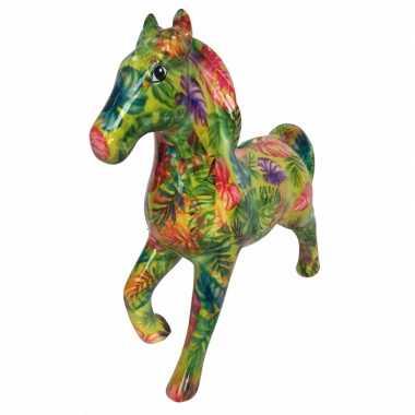 Spaarpot paard 21 cm bladeren print