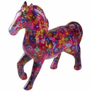 Spaarpot paard 21 cm fuchsia/bloemen